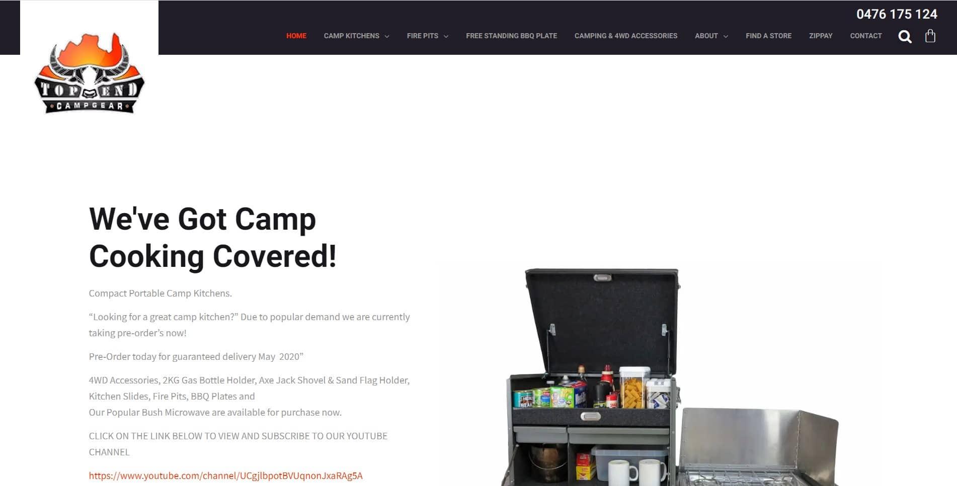 Top End Campgear Website Design & SEO Northern Rivers NSW - JezNorthWeb
